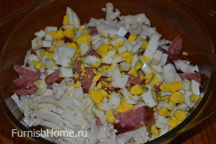 Салаты с вареной колбасой и капустой рецепт с