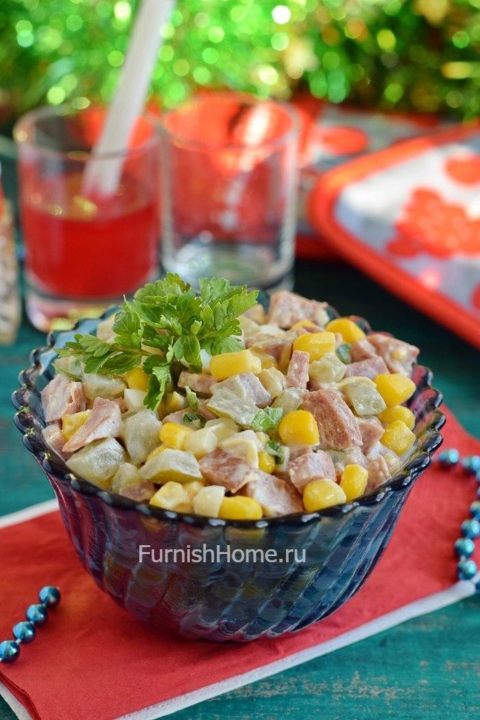Салаты с кукурузой консервированной с фото