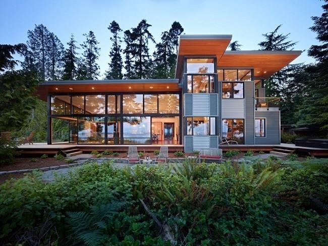 Стиль модерн заметен и в дизайне каркасного дома