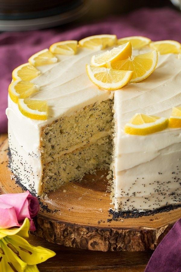 Лимонный торт с маком и сырной глазурью