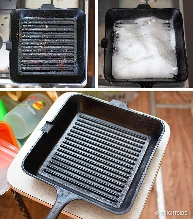 Обычная соль поможет очистить сковороду от жира
