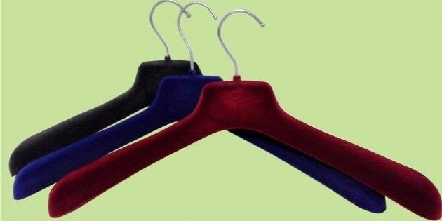 Бархатные вешалки для тяжелой одежды