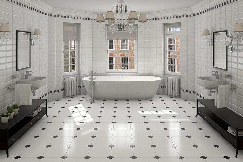 Раскладка плитки в ванной: 10 идей дизайна пола
