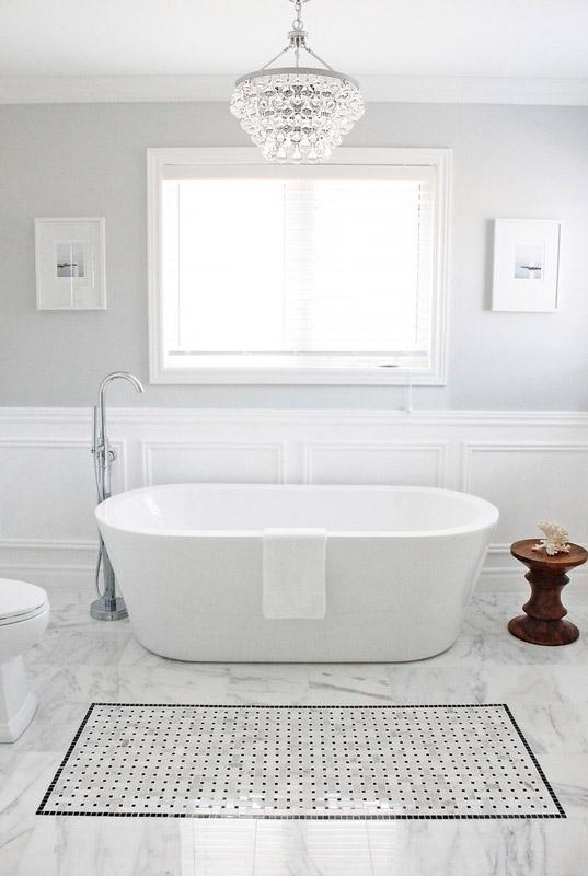 Дизайн пола в ванной: акцентные «ковры» и полосы