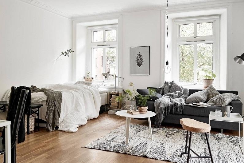 Совмещенная со спальней гостиная