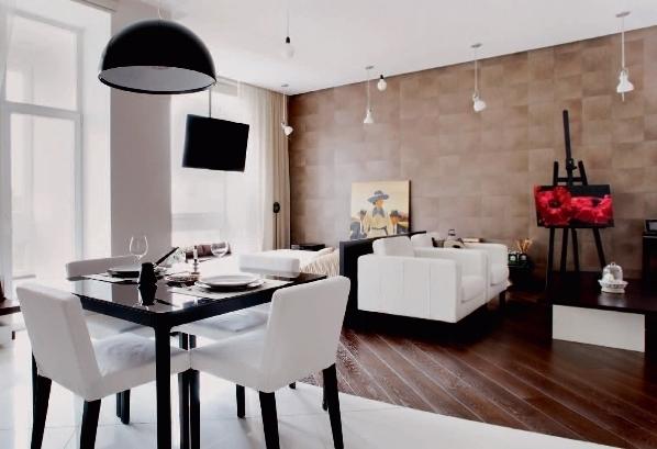 Гостиная со спальней открытой планировки