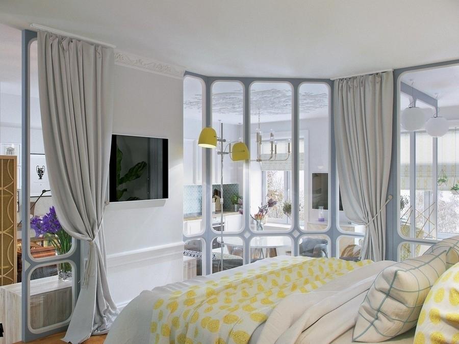 Спальня в гостиной на подиуме