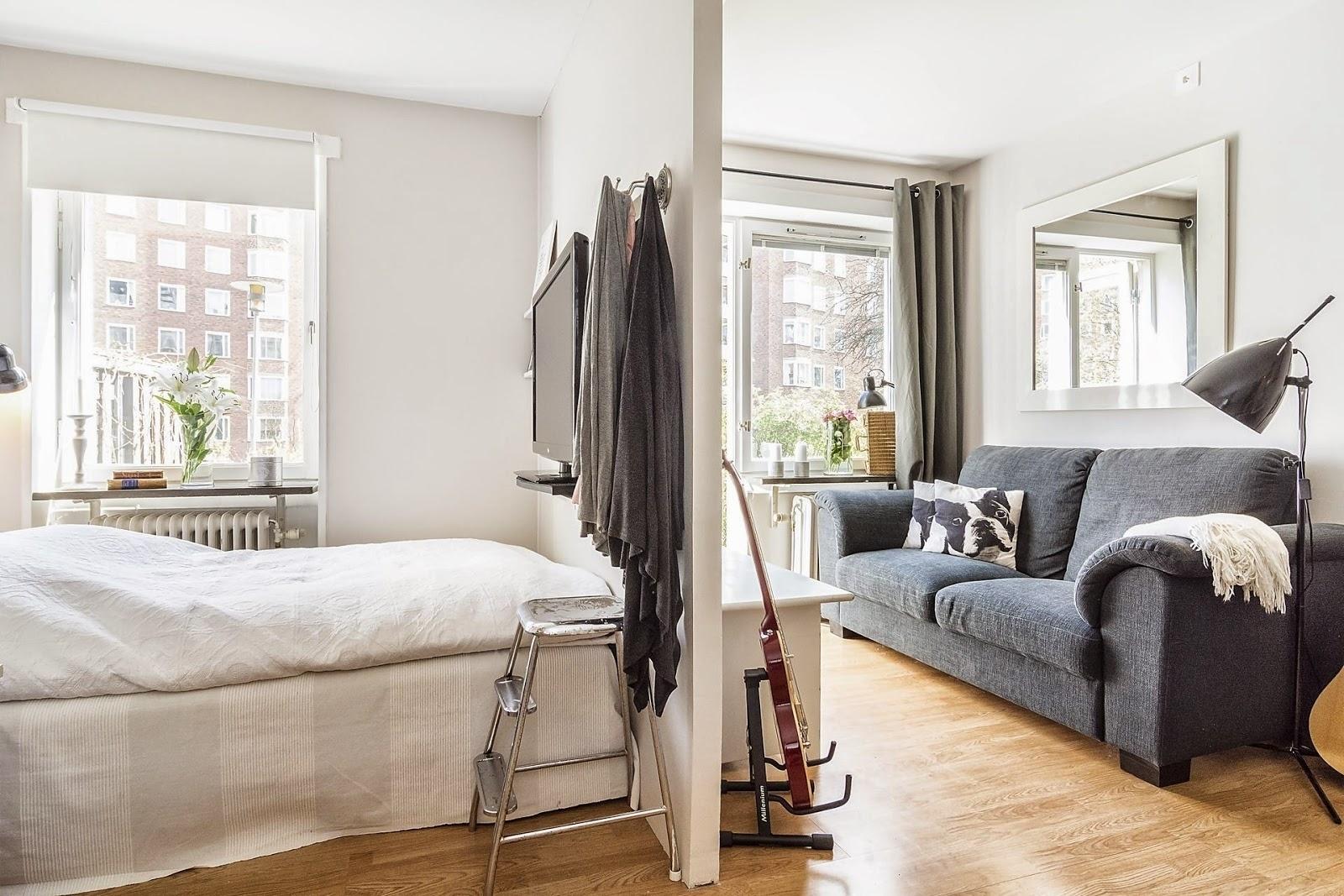 Гостиная со спальней с зонированием перегородкой