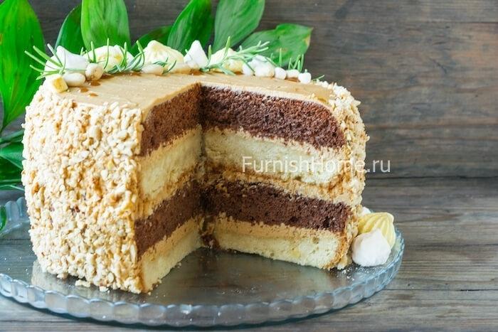 Торт с орехами и сгущенкой - Торты - Выпечка - ПОВАРЕНОК | 467x700