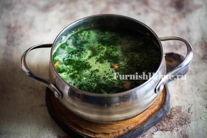 Суп с куриными фрикадельками и шпинатом